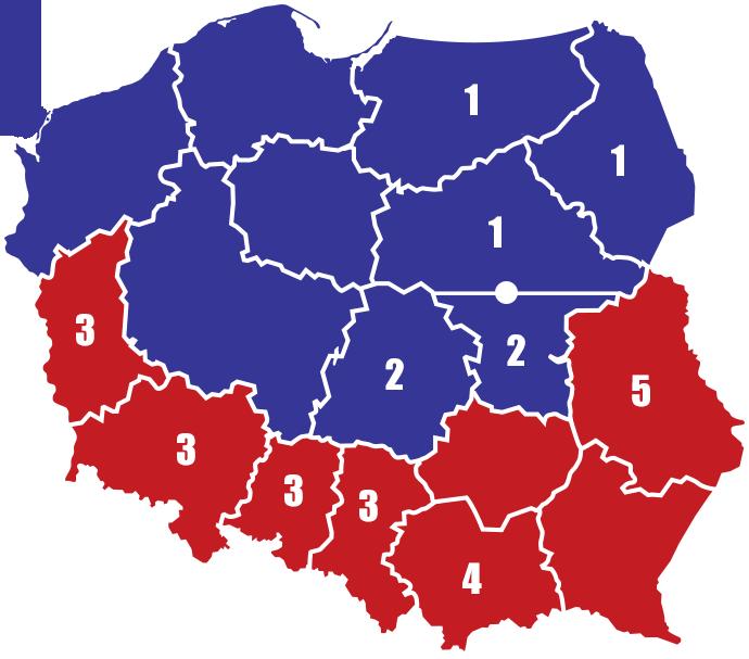 Mapa przedstawicieli handlowych SM Ryki - Region Północ, Region Południe